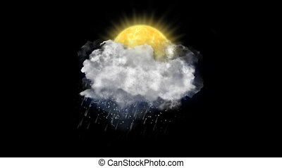 Sun Rain Snow, Weather Forecast Icon with Alpha Channel -...