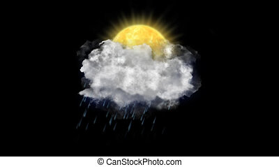 Sun Rain, Weather Forecast Icon with Alpha Channel - Weather...