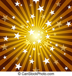 Sun Rays and Stars - Abstract Background Illustration, Vector