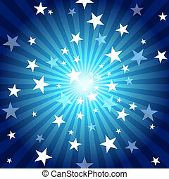 Sun Rays and Stars - Blue Abstract Background Illustration,...