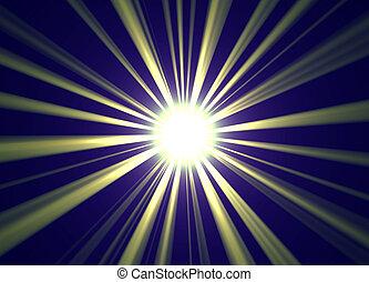 Golden centered sun ray burst for background.