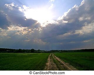 Sun rays breaking through