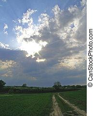 Sun rays breaking through the cloud