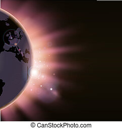 Sun rays burst over the globe