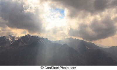 Sun Rays Clouds Mountains
