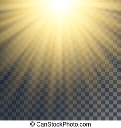 Sun rays effect. Yellow beams on transparent like background.