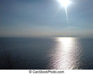 sun rays falling on lake