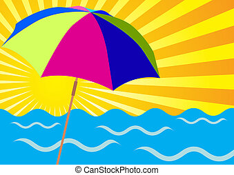 Sun Rays, Ocean and Beach Umbrellas