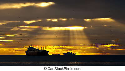 Sun Rays over the Ships
