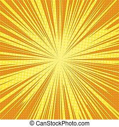 sun rays pop art retro background