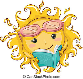 Sun Reader - Illustration of a Relaxed Sun Reading a Book