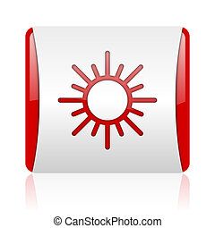 sun red and white square web glossy icon