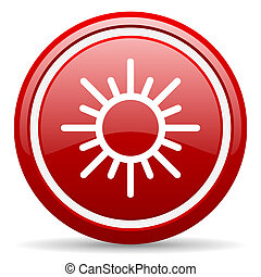 sun red glossy icon on white background - red glossy circle...