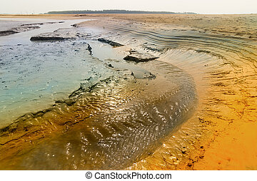 Sun reflected in water, riverbed at Tajpur, West Bengal, India