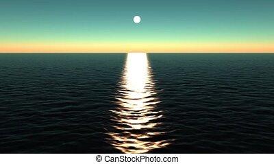 sun reflecting on ocean.