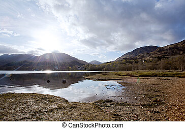 Loch Shiel Lake at Glenn Finnan Highlands Scotland