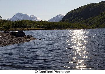 sun reflection on the lake