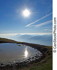 Sun reflection on the mountain pool