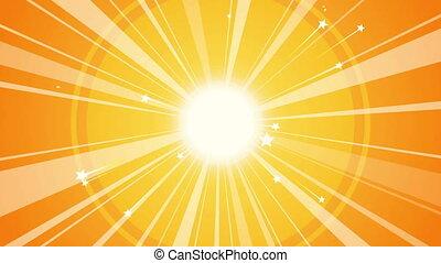"""Sun Retro Background with Orange Rays"""