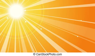 """Sun Retro Background with Starry Rays"" - ""A retro 3d..."