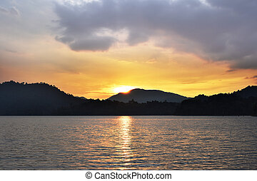Sun rise at Mountain in Chiang Mai Thailand