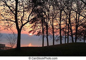 Sun rise over the lake