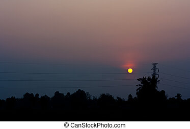 Sun rise with cable tower