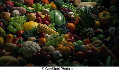Sun Rises On Pile Of Fruits And Vegetables - Sunrise effect...