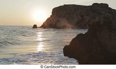 Sun rises over the Sea of Azov on Generals beach. Karalar regional landscape park in Crimea.
