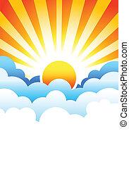 Bright sun rising in stylized blue clouds