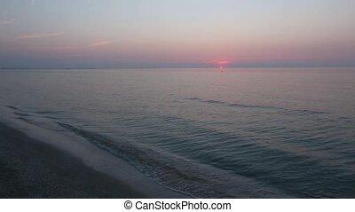 Sun Rising over Horizon And Blue-pi