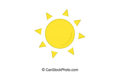 Sun rotating bright yellow line art vector animation. Sunshine and heat, weather forecast, meteorology simple contour icon video. Hot sunny day, sunlight overcast motion graphics