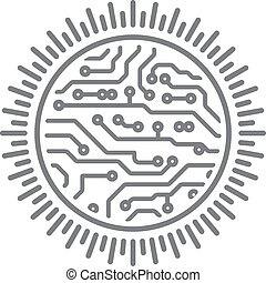 Sun round design in PCB-layout style with rays. Conceptual illustration for you logo or other design.