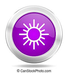 sun round glossy pink silver metallic icon, modern design web element