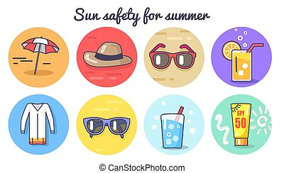 Sun Safety for Summer Poster Vector Illustration