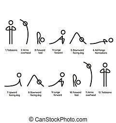 Sun Salutation yoga exercise, Surya Namaskara sequence infographic chart. Simple, minimal style asana symbols with text captions.