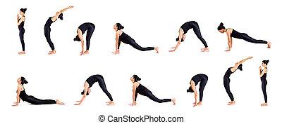 Sun salutation - Pretty young woman practicing yoga