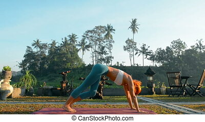 yoga sequence young women doing a series of asanas