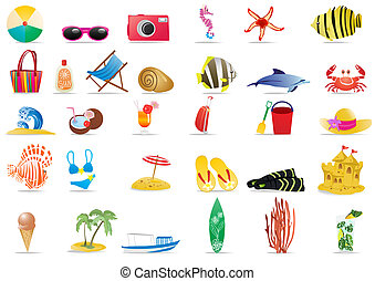 sun-sea-and-beach - Collection of summer icons, vector...