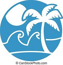 Sun sea and palm icon