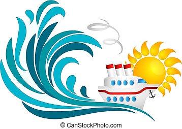 Sun, sea wave and cruise ship
