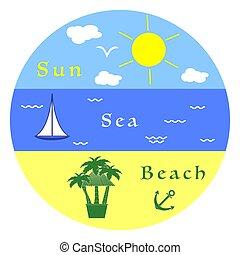 Sun, sea, yacht, beach, anchor, bar, palm trees.