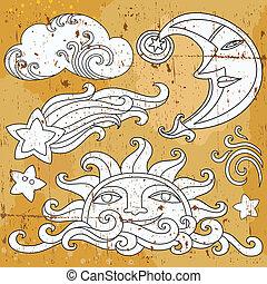 sun set 1 - Vector set of Celestial symbols: sun, moon,...