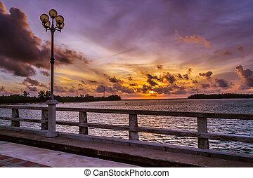 Sun set at sarasin Bridge