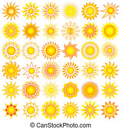 sun set - bright symbolic vector sun collection