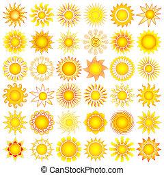 sun set - bright symbolic vector sun collection