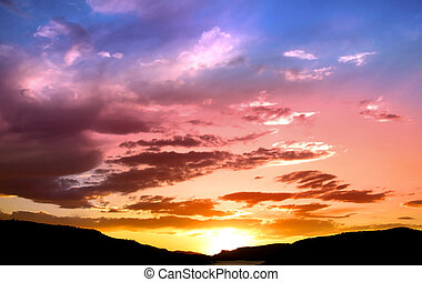 Colorful sky during sun set in black canyon of Gunnison
