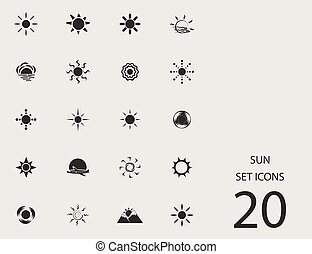 Sun set of flat icons. Vector illustration