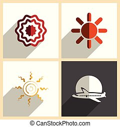 Sun set of flat icons with shadow. Vector illustration