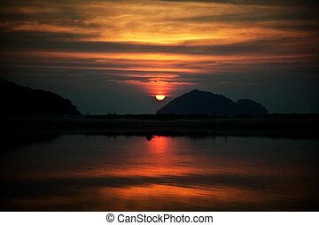 Sun set of the sea at Koh Phangan, Thailand